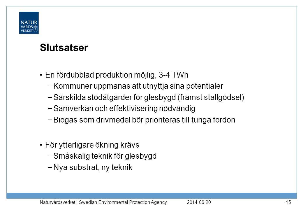 Slutsatser En fördubblad produktion möjlig, 3-4 TWh