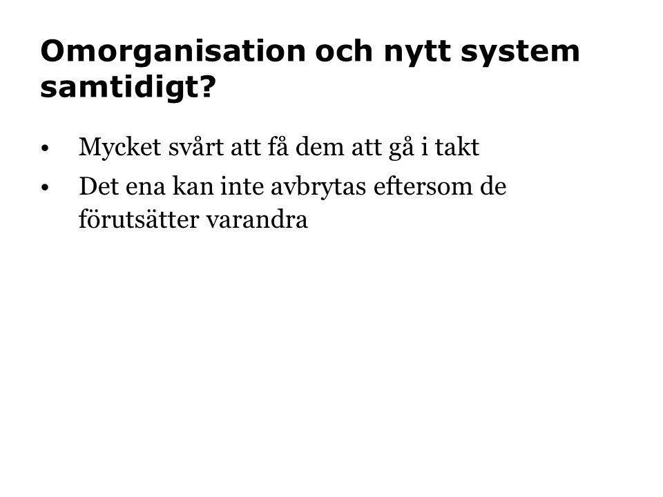 Omorganisation och nytt system samtidigt