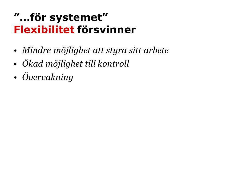 …för systemet Flexibilitet försvinner