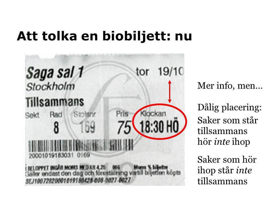 Att tolka en biobiljett: nu