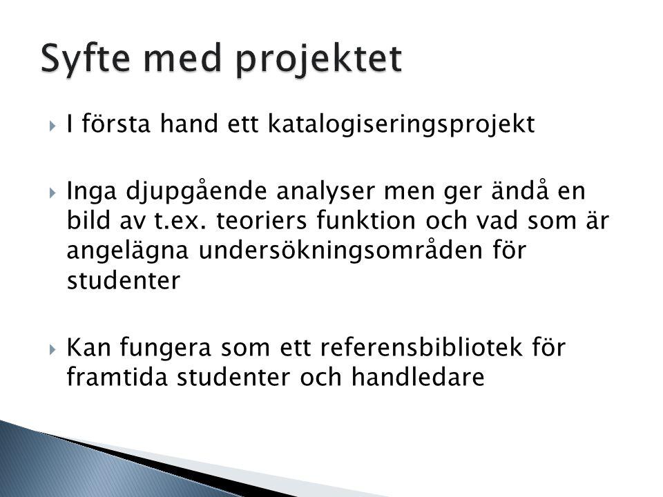 Syfte med projektet I första hand ett katalogiseringsprojekt