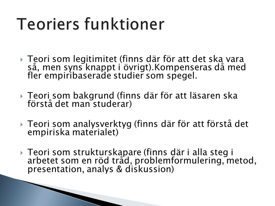 Teoriers funktioner