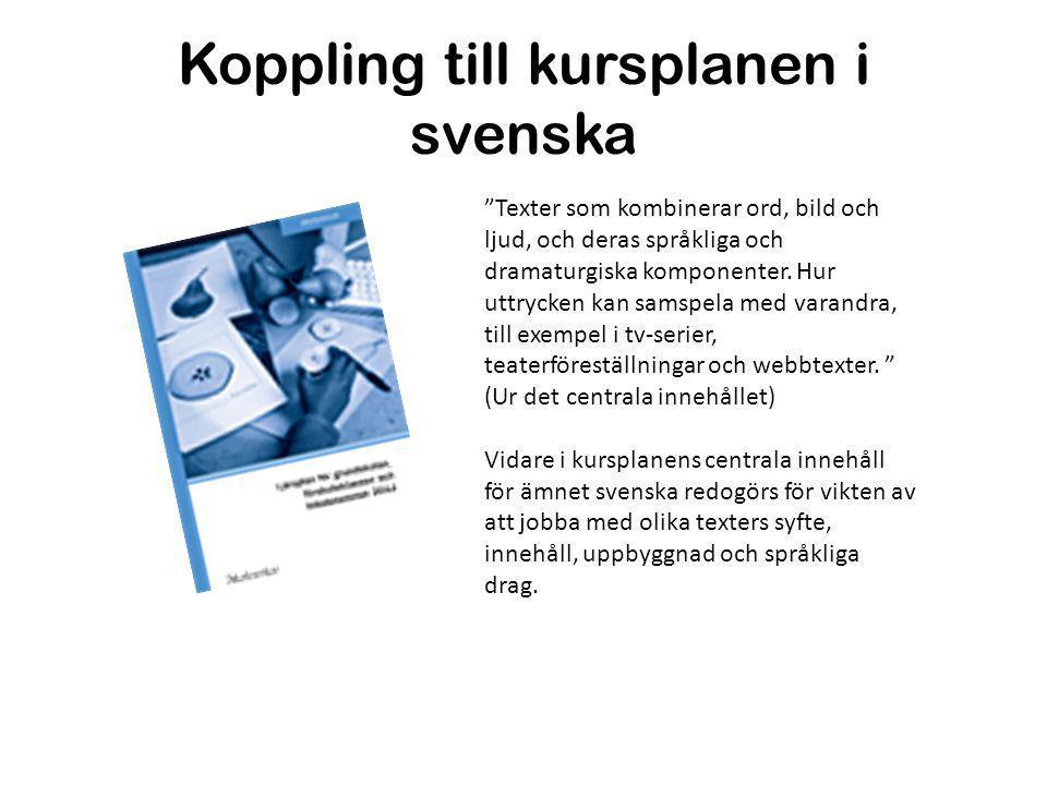 Koppling till kursplanen i svenska