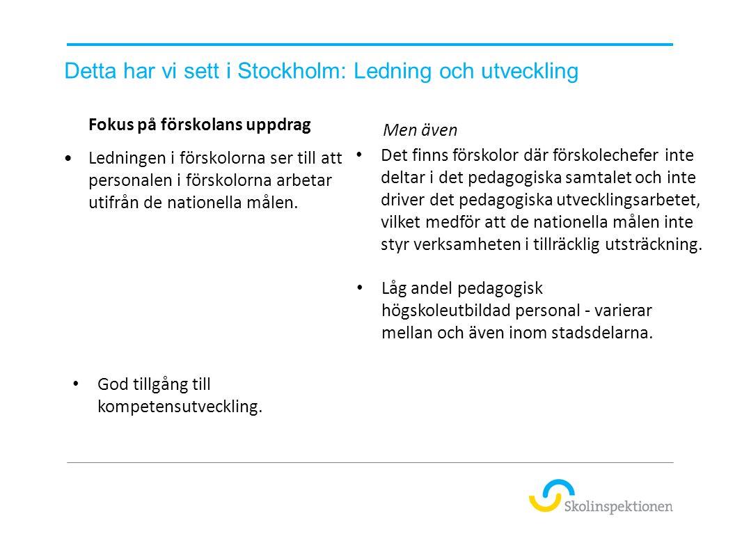 Detta har vi sett i Stockholm: Ledning och utveckling