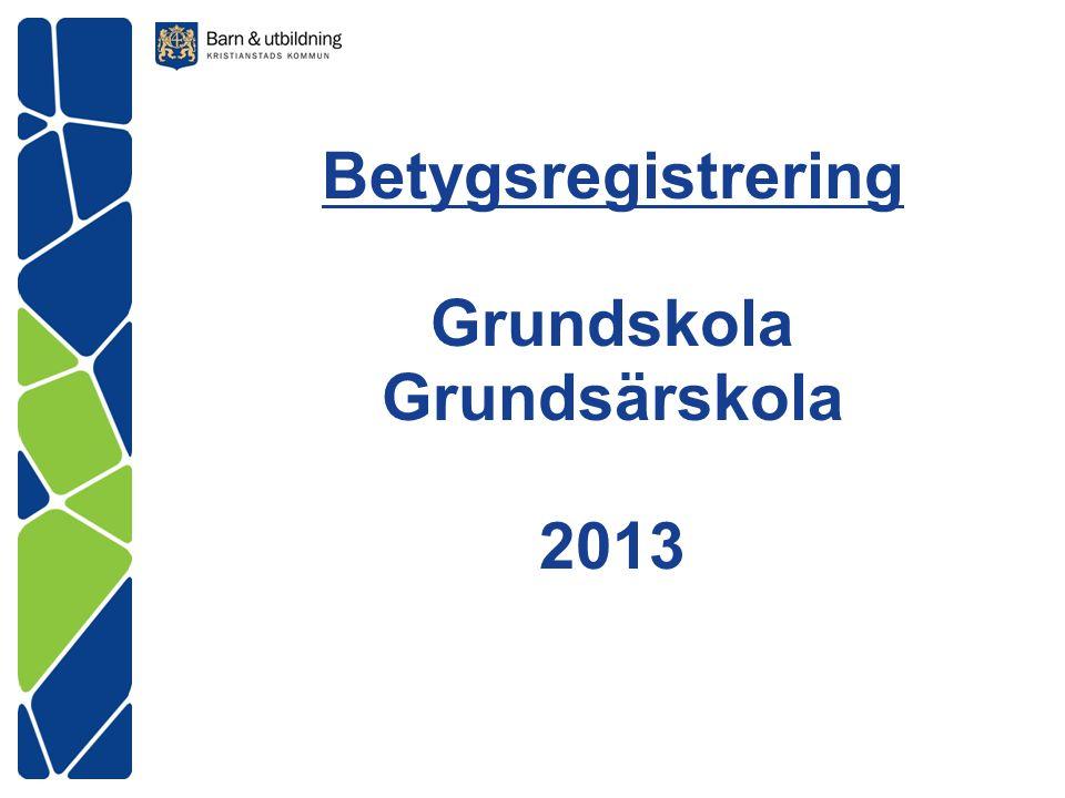 Betygsregistrering Grundskola Grundsärskola 2013
