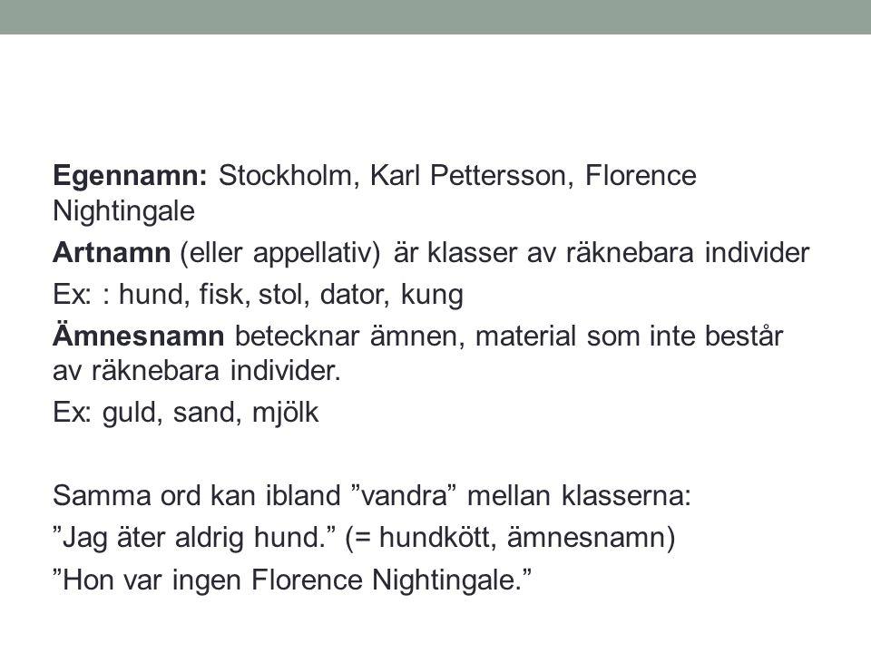 Egennamn: Stockholm, Karl Pettersson, Florence Nightingale
