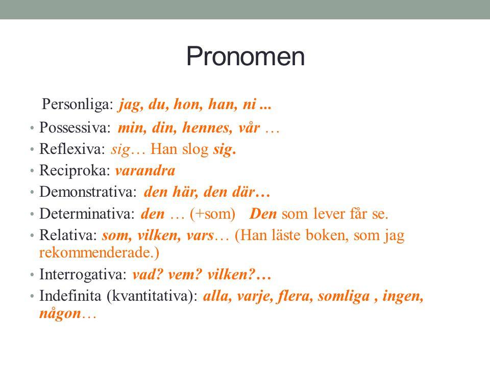 Pronomen Personliga: jag, du, hon, han, ni ...