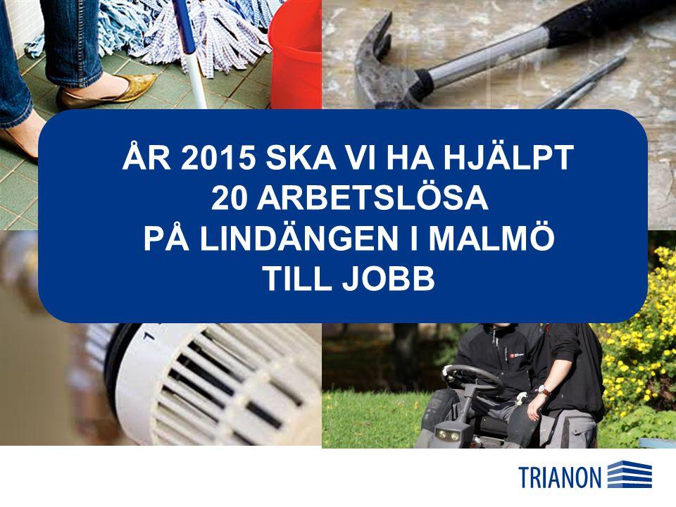 ÅR 2015 SKA VI HA HJÄLPT 20 ARBETSLÖSA