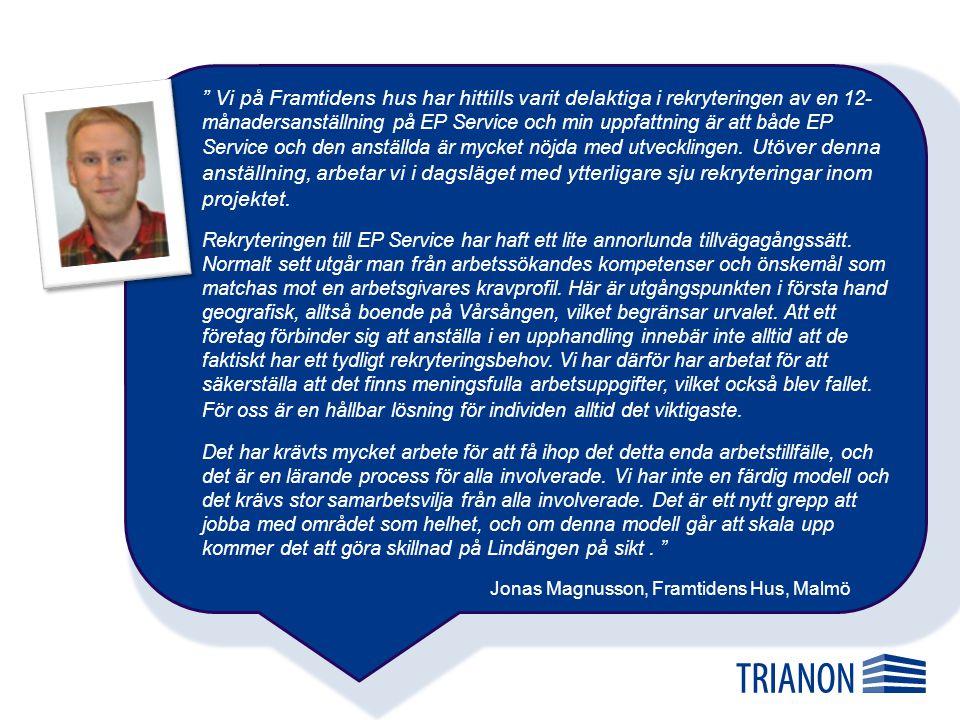 Vi på Framtidens hus har hittills varit delaktiga i rekryteringen av en 12-månadersanställning på EP Service och min uppfattning är att både EP Service och den anställda är mycket nöjda med utvecklingen. Utöver denna anställning, arbetar vi i dagsläget med ytterligare sju rekryteringar inom projektet.