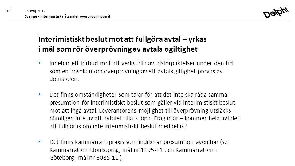 15 maj 2012 Sverige - Interimistiska åtgärder överprövningsmål.