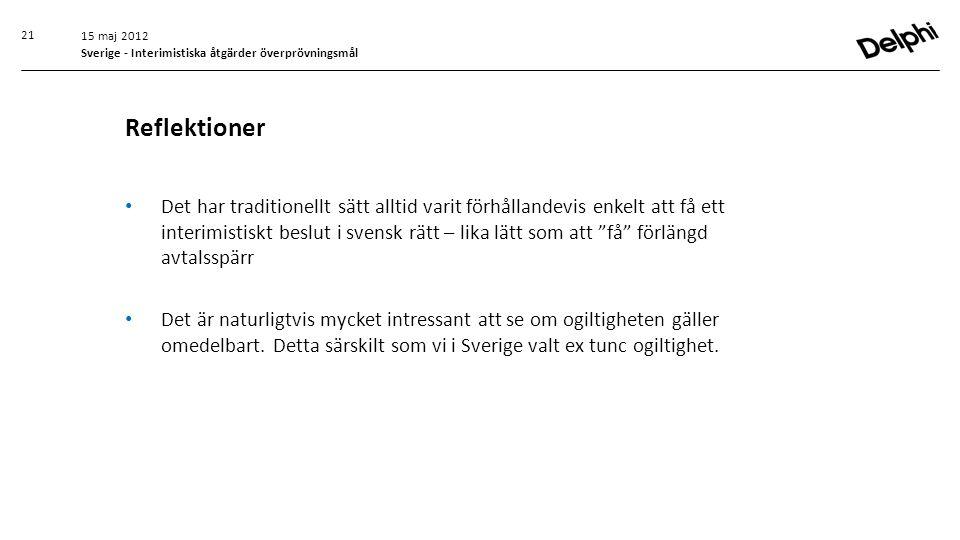 15 maj 2012 Sverige - Interimistiska åtgärder överprövningsmål. Reflektioner.