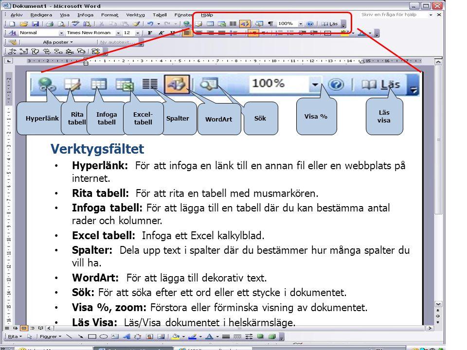 Visa % Läs visa. Hyperlänk. Rita tabell. Infoga tabell. Excel-tabell. Spalter. WordArt. Sök.