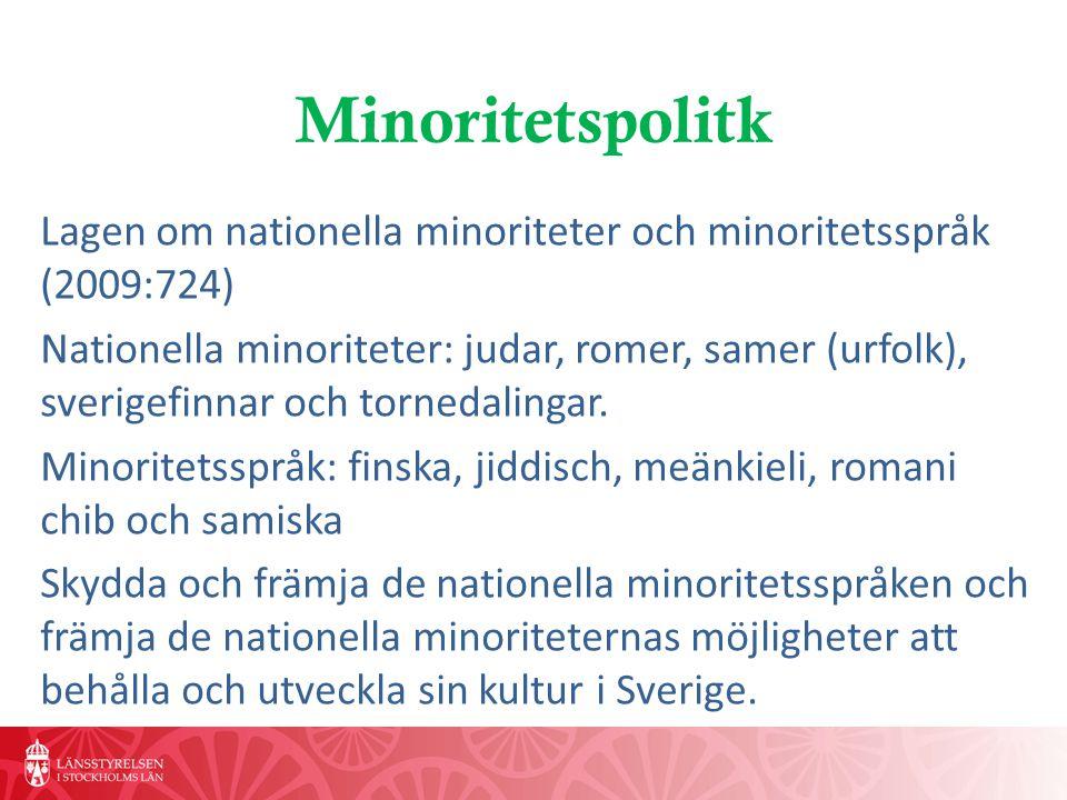 Minoritetspolitk Lagen om nationella minoriteter och minoritetsspråk (2009:724)