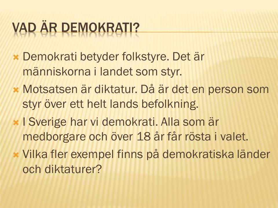 Vad är demokrati Demokrati betyder folkstyre. Det är människorna i landet som styr.