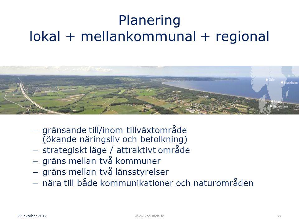 Planering lokal + mellankommunal + regional