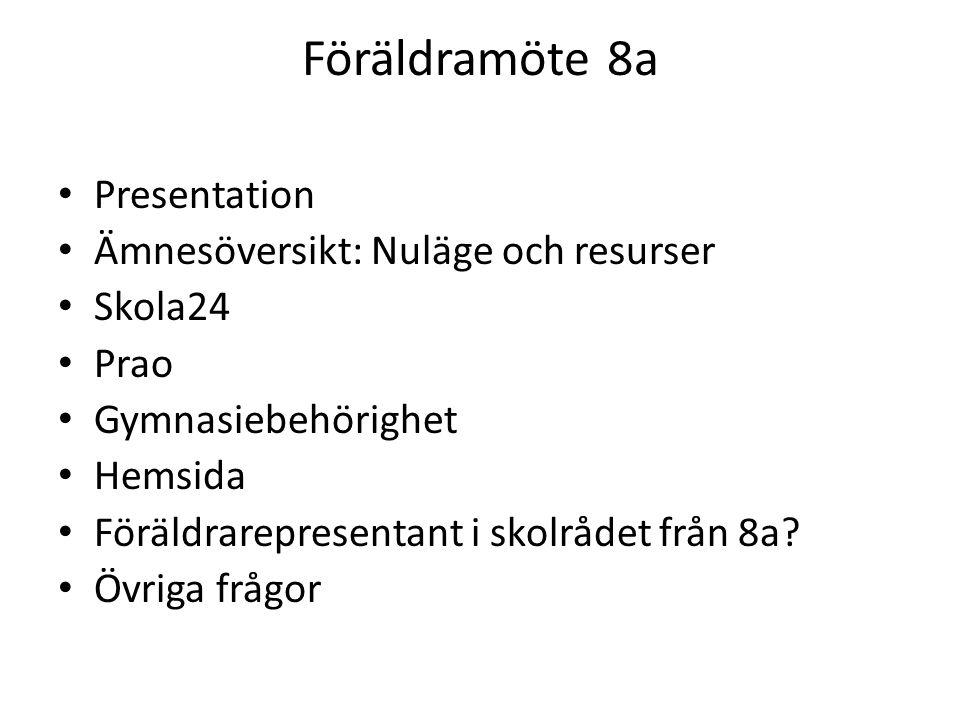 Föräldramöte 8a Presentation Ämnesöversikt: Nuläge och resurser