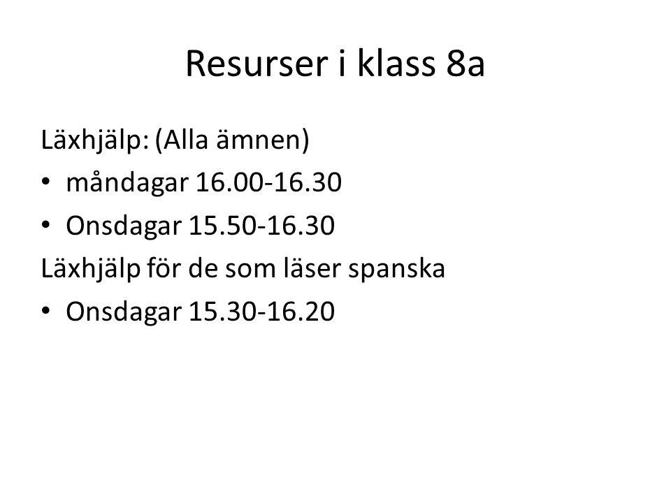 Resurser i klass 8a Läxhjälp: (Alla ämnen) måndagar 16.00-16.30