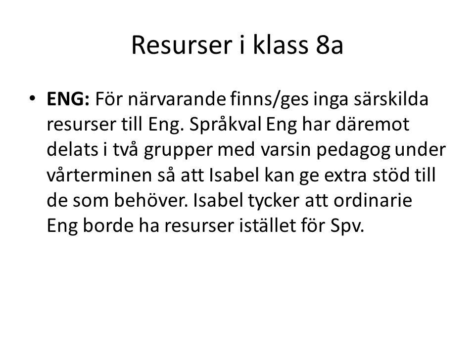 Resurser i klass 8a