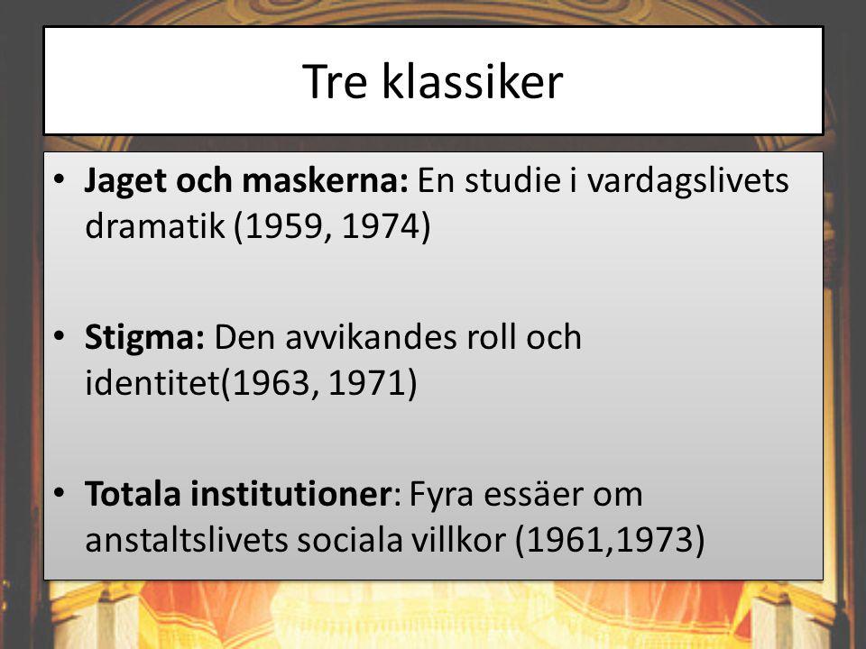 Tre klassiker Jaget och maskerna: En studie i vardagslivets dramatik (1959, 1974) Stigma: Den avvikandes roll och identitet(1963, 1971)