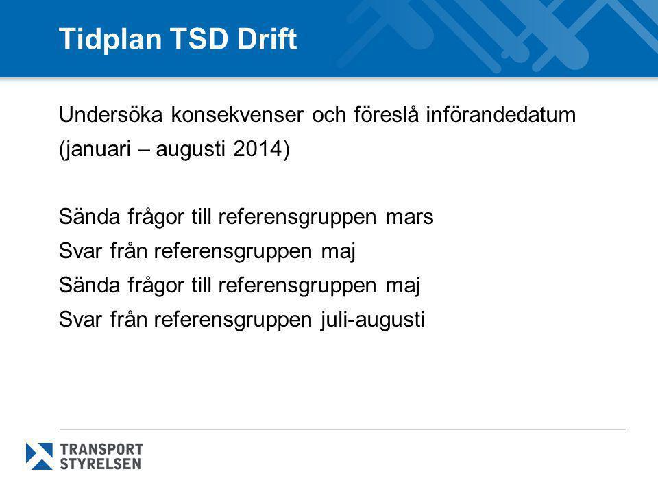Tidplan TSD Drift