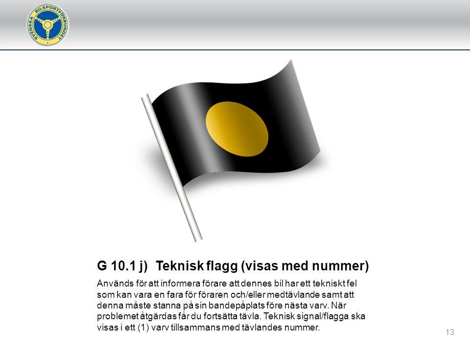 G 10.1 j) Teknisk flagg (visas med nummer)