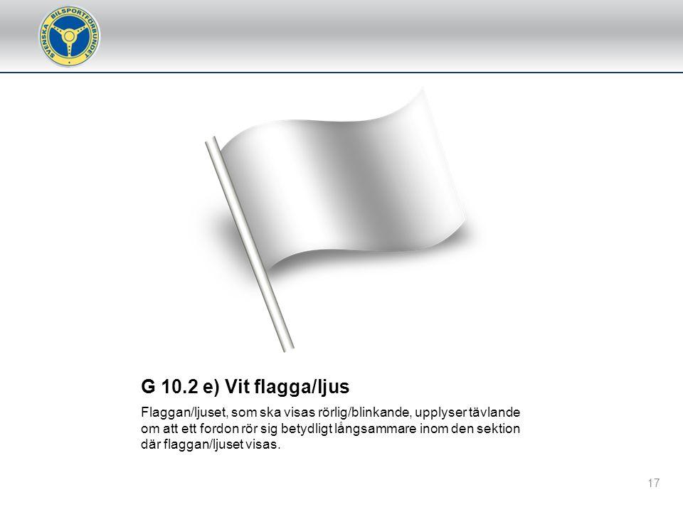 G 10.2 e) Vit flagga/ljus