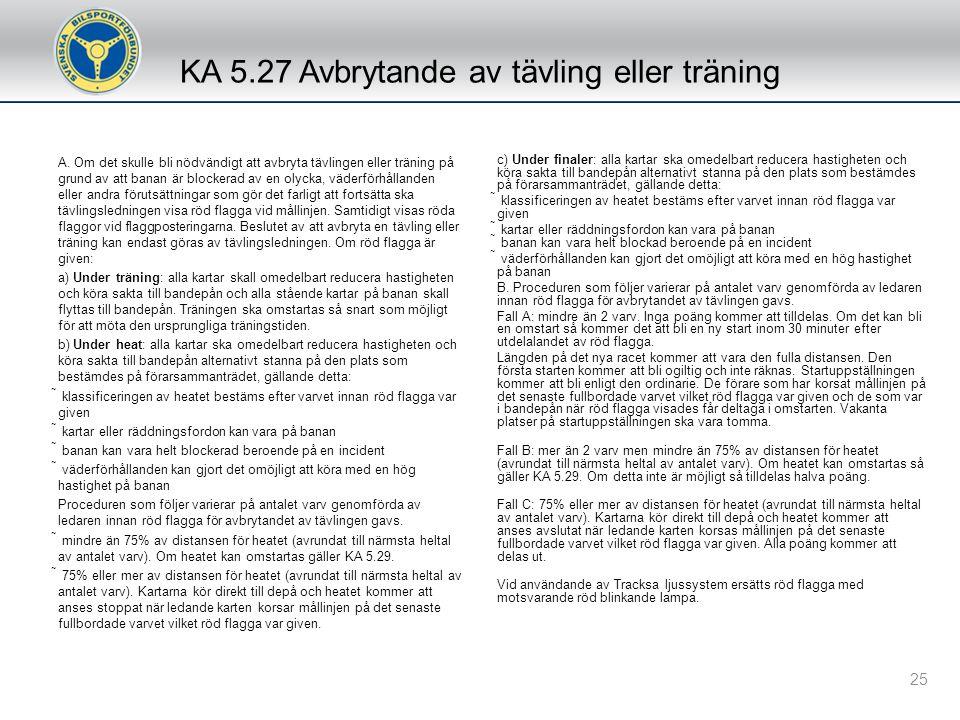 KA 5.27 Avbrytande av tävling eller träning
