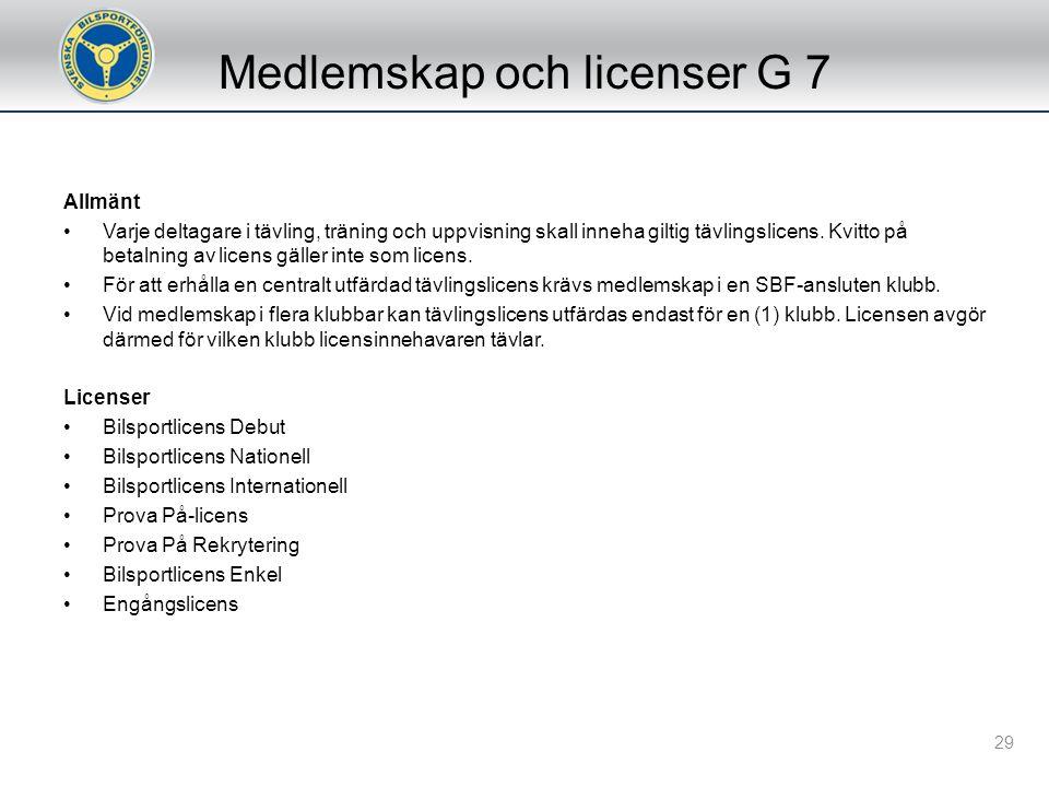Medlemskap och licenser G 7