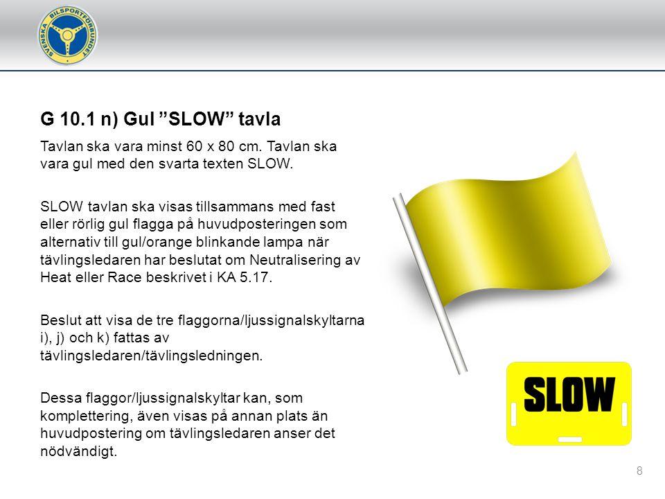 G 10.1 n) Gul SLOW tavla Tavlan ska vara minst 60 x 80 cm. Tavlan ska vara gul med den svarta texten SLOW.