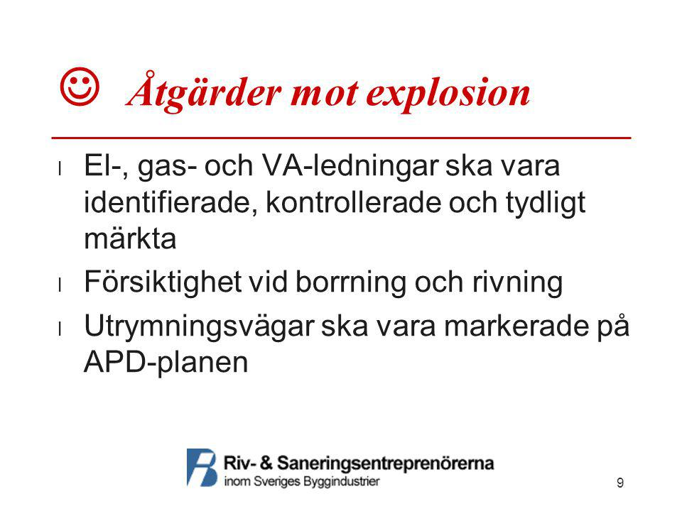  Åtgärder mot explosion