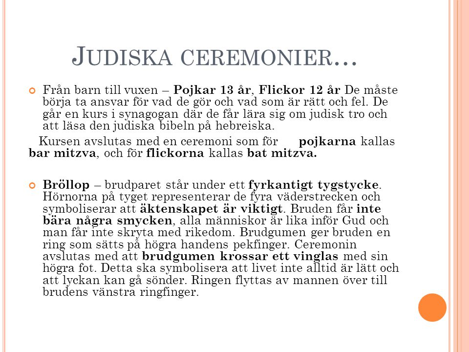 Judiska ceremonier…