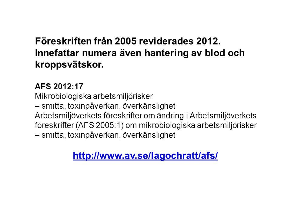 Föreskriften från 2005 reviderades 2012.