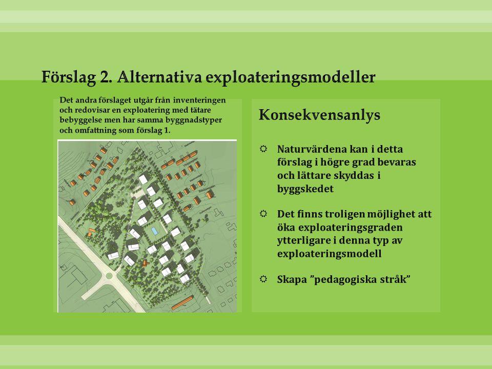 Förslag 2. Alternativa exploateringsmodeller