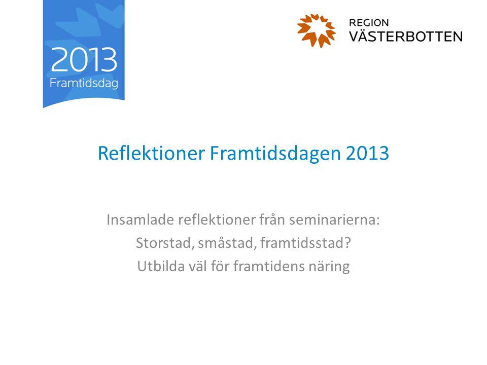 Reflektioner Framtidsdagen 2013