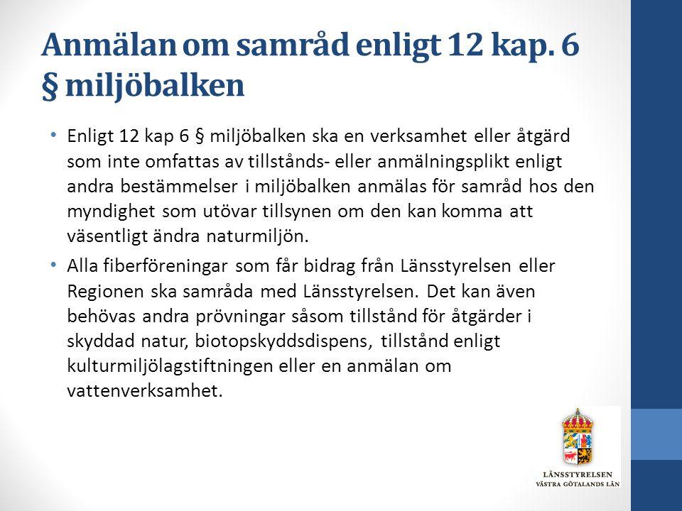 Anmälan om samråd enligt 12 kap. 6 § miljöbalken