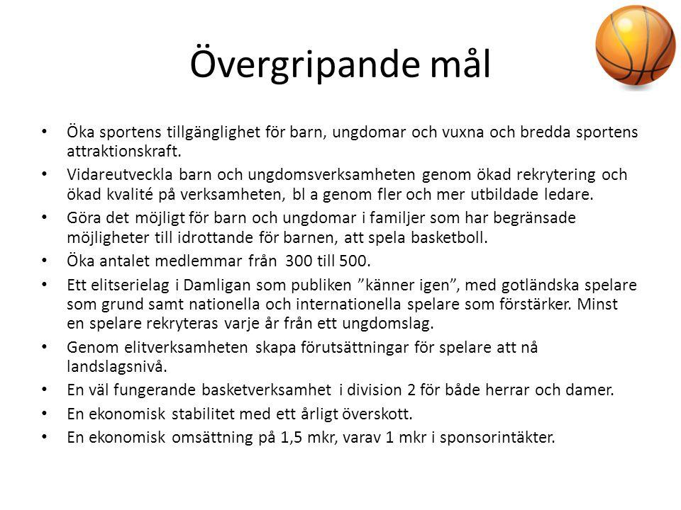 Övergripande mål Öka sportens tillgänglighet för barn, ungdomar och vuxna och bredda sportens attraktionskraft.