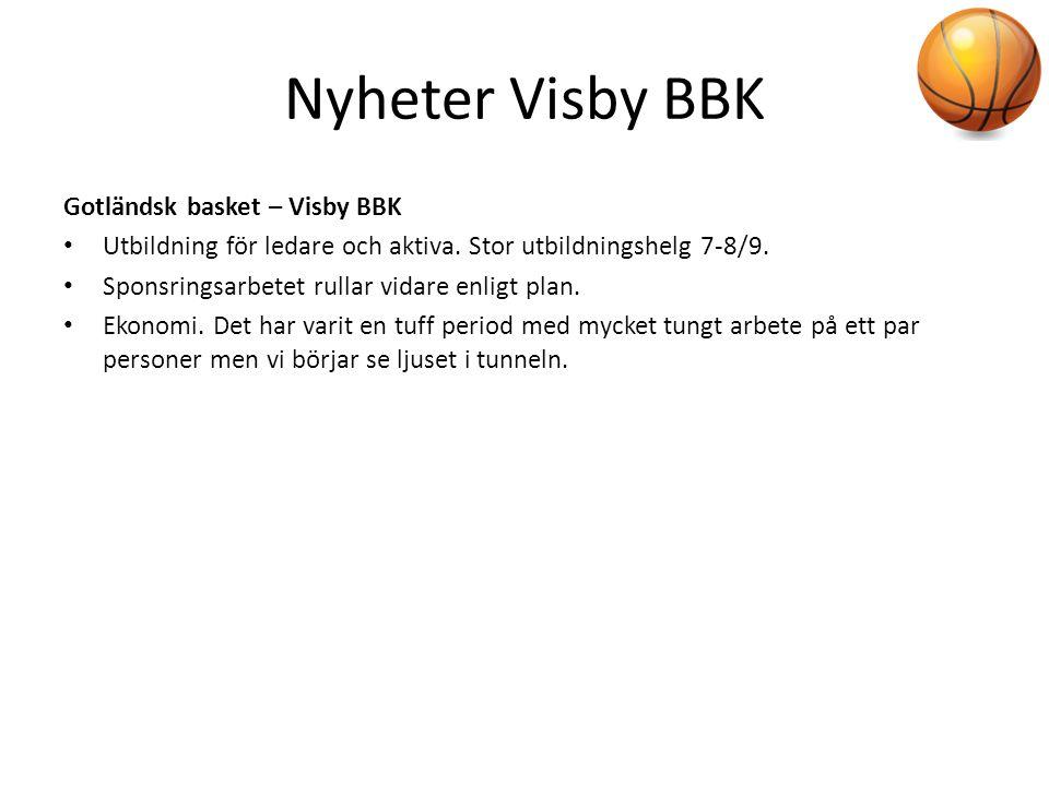 Nyheter Visby BBK Gotländsk basket – Visby BBK