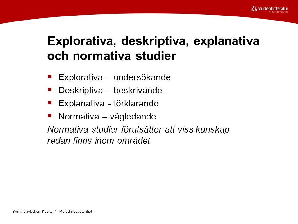 Explorativa, deskriptiva, explanativa och normativa studier