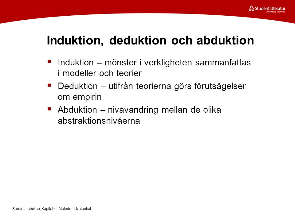 Induktion, deduktion och abduktion