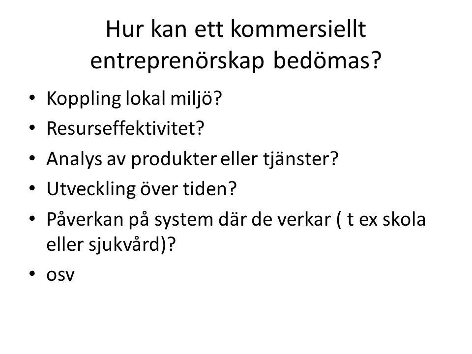 Hur kan ett kommersiellt entreprenörskap bedömas