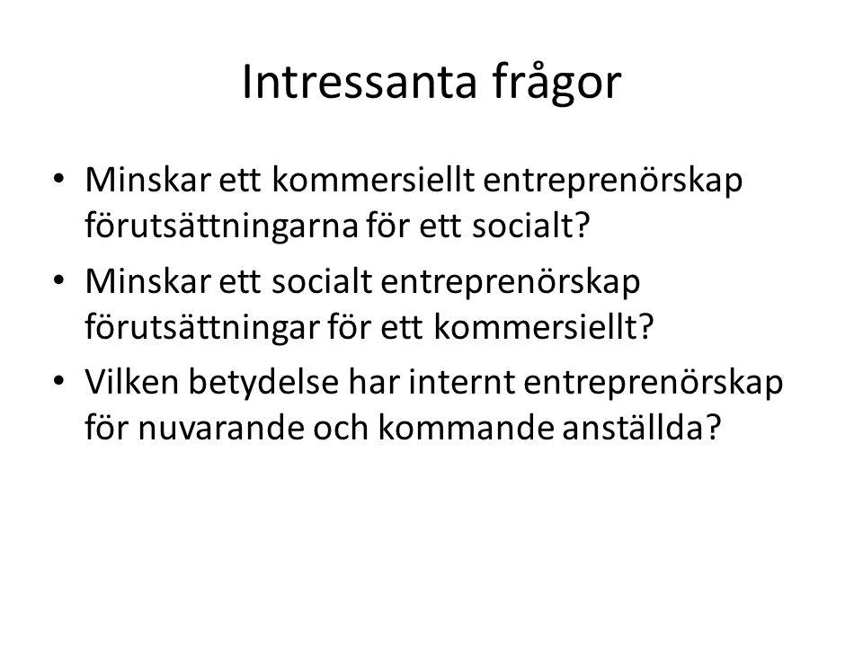 Intressanta frågor Minskar ett kommersiellt entreprenörskap förutsättningarna för ett socialt