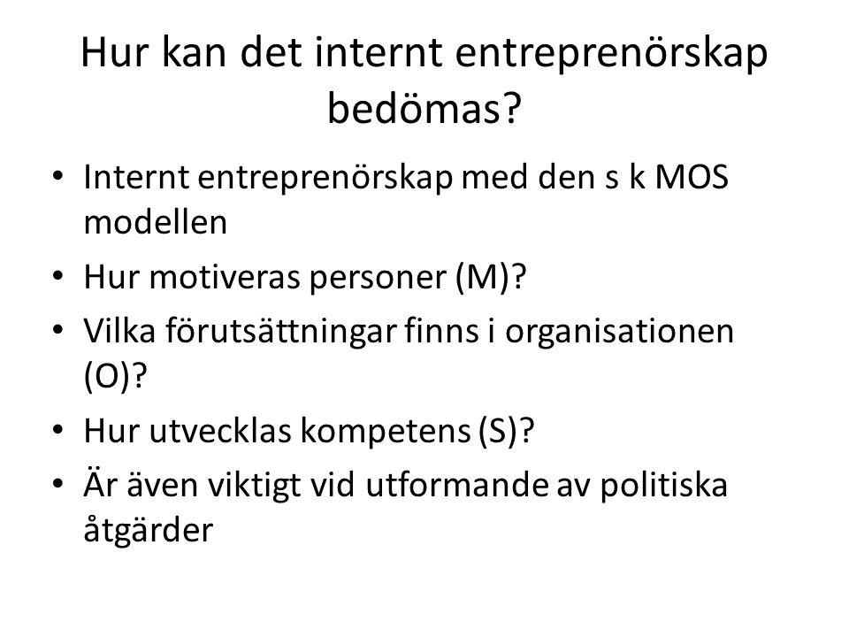 Hur kan det internt entreprenörskap bedömas