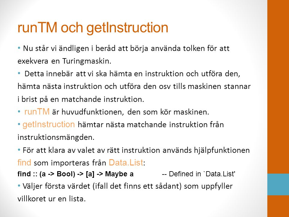 runTM och getInstruction
