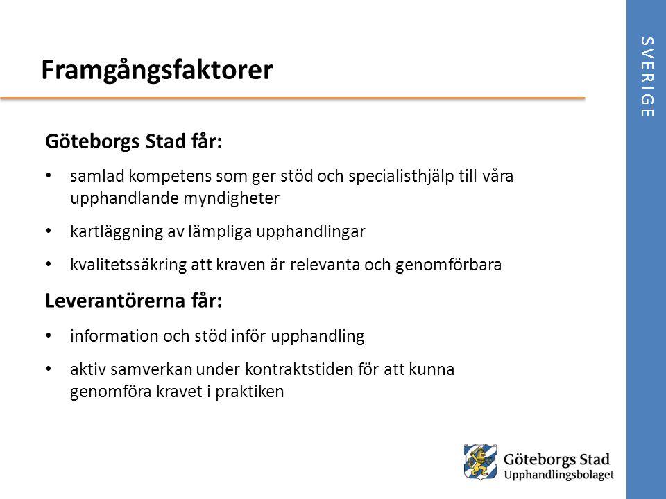 Framgångsfaktorer Göteborgs Stad får: Leverantörerna får: SVERIGE