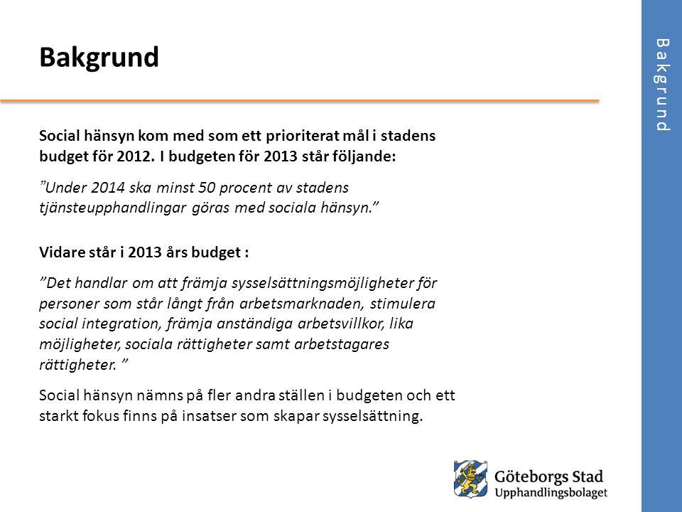 Bakgrund Bakgrund. Social hänsyn kom med som ett prioriterat mål i stadens budget för 2012. I budgeten för 2013 står följande: