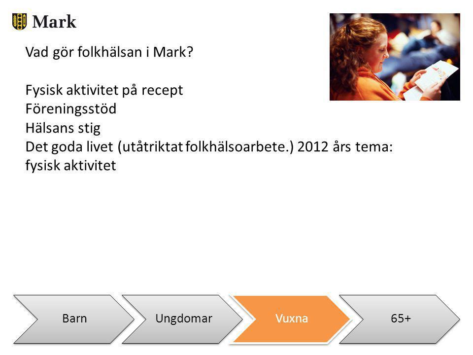 Vad gör folkhälsan i Mark Fysisk aktivitet på recept Föreningsstöd