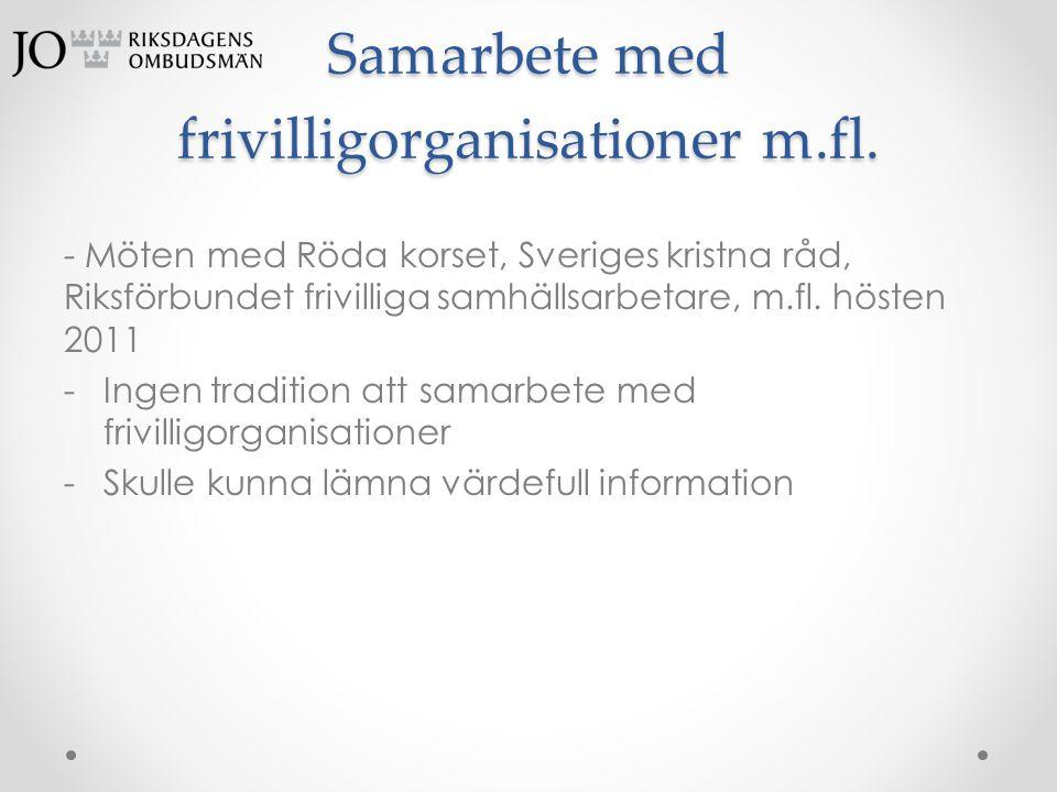 Samarbete med frivilligorganisationer m.fl.