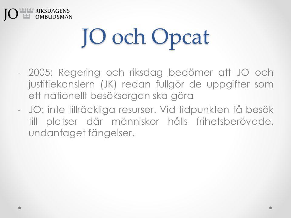JO och Opcat 2005: Regering och riksdag bedömer att JO och justitiekanslern (JK) redan fullgör de uppgifter som ett nationellt besöksorgan ska göra.