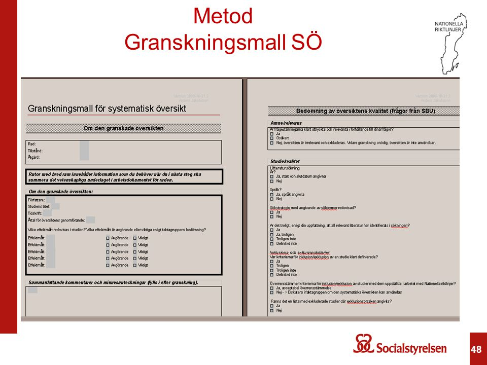 Metod Granskningsmall SÖ 48 48