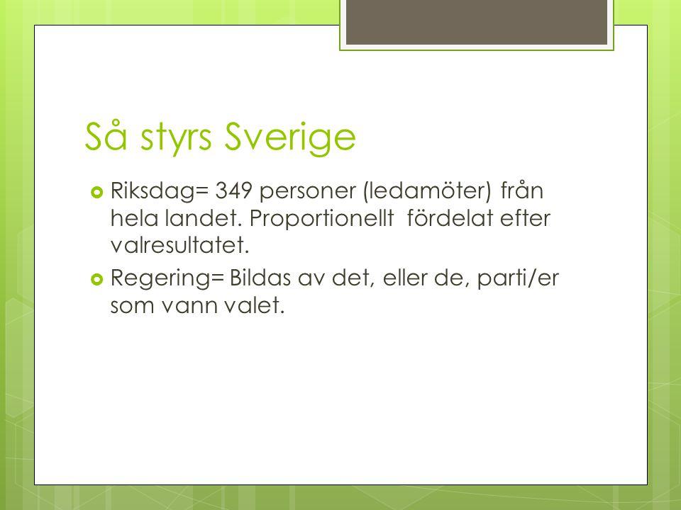 Så styrs Sverige Riksdag= 349 personer (ledamöter) från hela landet. Proportionellt fördelat efter valresultatet.